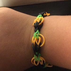Loom bracelets, loom chokers, loom rings.